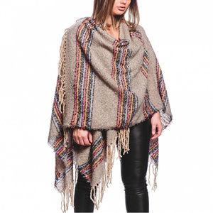 New Multi color stripe ruana shawl cape